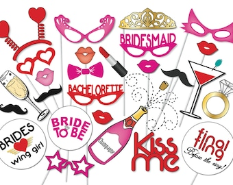 Bachelorette Party Photo Booth Props Set - 26 Piece PRINTABLE - Girls night out, Bridal Shower, bride to be, bridesmaids