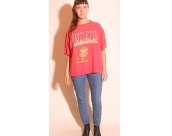 Vintage 1970s Mistletoe Maniac Jim Davis Garfield Comic Red T Shirt Mens size M