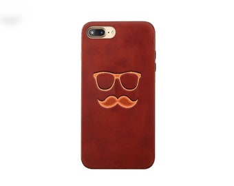 Beard glasses iphone X case Leather iphone 8 case  iphone 7 case  iphone 7 plus case vintage iphone 6s case men iphone 8 plus case dad gift