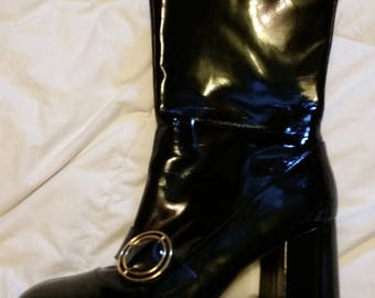 60'S Revival BLACK PATENT Leather Gold Buckles Nancy Sinatra Block Heeled Ankle Boots 9.5 to 10.5 US