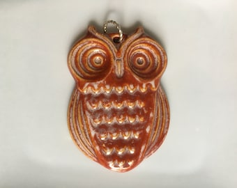 Ceramic Owl Pendant, Owl Jewelry, Ceramic Jewelry, Terra Cotta, Blue, Gray, Buttercream, ***Free Shipping***