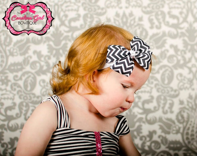 Black Chevron Bow Band - Bow on an Elastic Headband Baby Infant Toddler - Girls Hair Bows