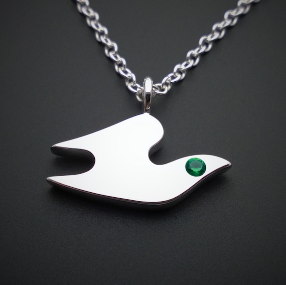 Emerald dove necklace pendant in sterling silver sterling like this item mozeypictures Image collections