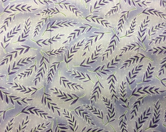 """Spring views fabric """"In the beginning"""" light purple back ground with darker purple leafs, with green stem pattern"""