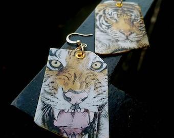 Fierce Tiger - hand-painted big cat charm earrings