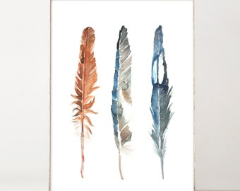 Feathers Wall Art Watercolor Feather Print Boho Wall Decor Copper Rustic Home Decor Blue Office Decor Farmhouse Decor Best Selling Items