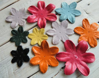 Set of 10 leather flower