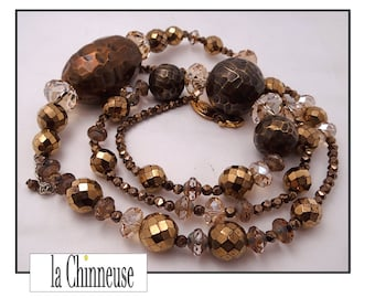 VINTAGE NECKLACE Babylon / Collire Vintage Babylon / long beads necklace/necklace Baroque / Collectible / Made in France / for her.