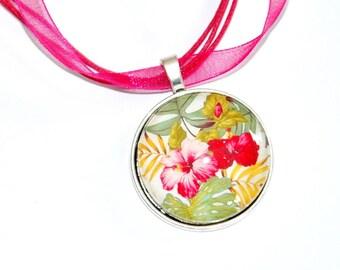 hibiscus necklace pendant