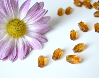 Amber/Light Brown Glass Tube Beads/1.4mm Long/ 22 pcs