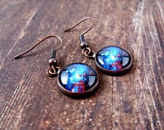 Space Earrings : Space Sparkle. Copper Earrings. Dangle Earrings. Art. Handmade Jewelry. Jewellery