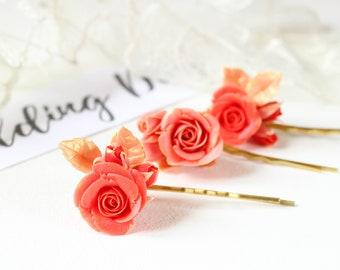 Coral bridesmaid hair pins Coral hair accessory Coral wedding bobby pins Rose gold bridal hair piece Coral hair flower Coral hair piece