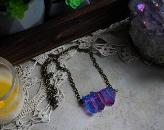 Power of Three • Pink/purple/blue iridescent titanium aura crystal quartz necklace