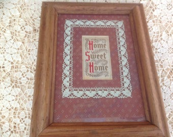 Vintage FIGI Graphics Home Sweet Home Framed Needle Point