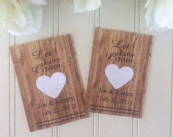 Plantable Paper wedding favors, Plantable Seed Paper, plantable heart seed packets, wedding seed favors, Plantable wedding favors