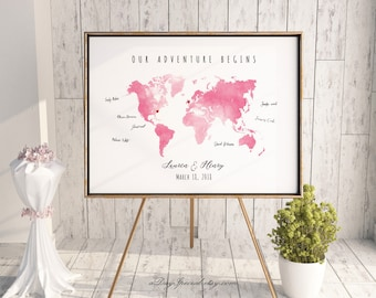 Guest book map etsy printable blush pink watercolor world map guest book editable pdf template diy personalized large print gumiabroncs Images