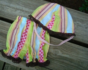 Baby Girl's Lightweight Panty Shorts and Matching Bucket Hat - Spring Stripe 732