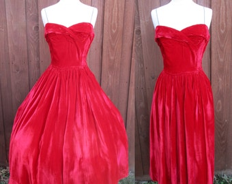 1950s Red Velvet Prom Dress Rhinestone Straps Cross Body Bodice Full Skirt Size Sm