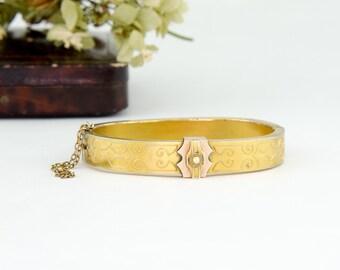 Etruscan Revival Antique Gold Victorian Bangle Bracelet   Antique Victorian Bracelet   Victorian Gold Antique Bracelet