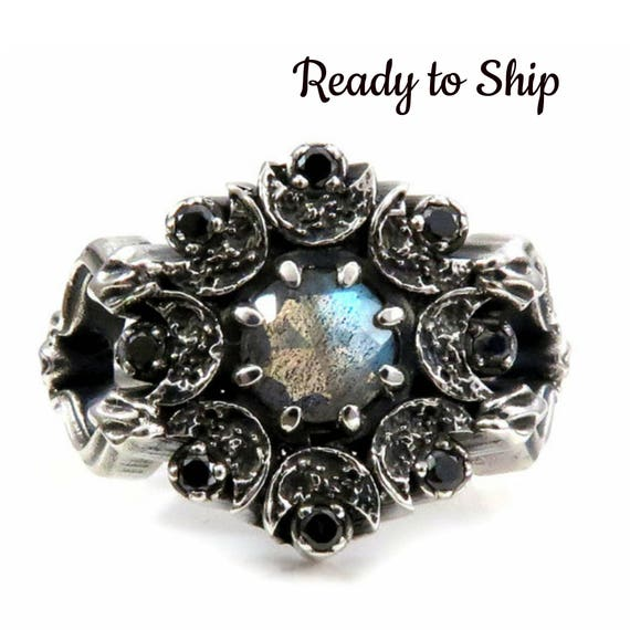 Ready to Ship Size 6-8 - Snake and Moon Labradorite Gothic Engagement Ring with Black and White Diamonds - Memento Mori