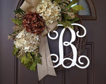 Monogram wreath - Year Round Wreath - All Season Wreath - Hydrangea Wreath - Grapevine Wreath with Initial - Front Door Decor - Porch Decor