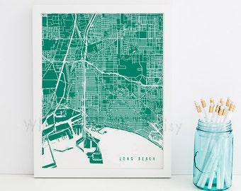Long Beach Map Long Beach Art Long Beach Map Art Long Beach Print Long Beach Printable Long Beach City Art California Art
