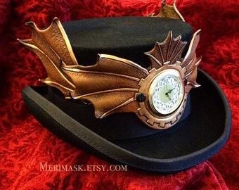 READY TO SHIP Steampunk Draco Temporis 2 Top Hat... Alice leather clockwork dragon wings halloween mardi gras burning man cosplay costume