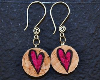 Hot Pink Heart Wine Cork Earrings