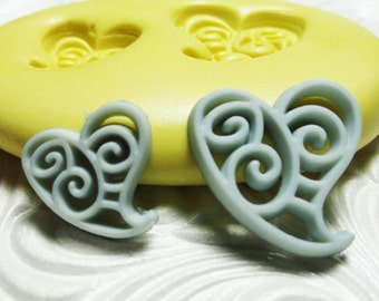 SWIRL HEART DUO Mold Flexible Silicone Rubber Push Mold for Resin Wax Fondant Clay Fimo 6030