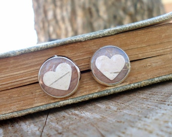Birch Heart Earrings, Birch Bark Jewelry, Natural Jewelry, Rustic Birch Bridesmaids Earrings, Real Bark Earrings, Brown Wood Stud Earrings