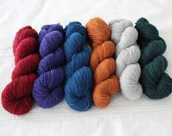 Custom Length Multicolored Pack ALPHA - Dissertation, Hand Dyed Superwash Merino Sock Yarn