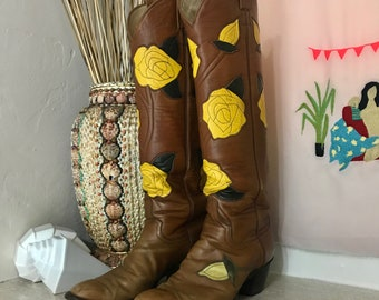 Vintage Yellow Rose Western Cowboy Boots - Rose Cowgirl Boots 8