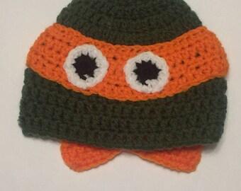Crocheted Orange Ninja Turtle, You pick the size, Infant through Adult!