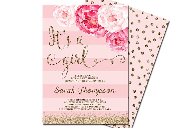 Its A Girl Baby Shower Invitation Blush Pink Gold