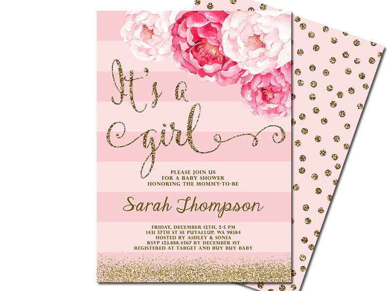 It's a girl baby shower invitation blush pink & gold