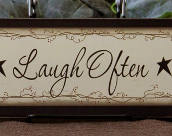 Primitive Country Wood Sign Block, Shelf Signs, Live Well Laugh Often Love Much Family Inspirational Home Decor, housewarming gift