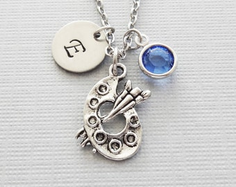 Painter Necklace, Paint Palette, Color Palette, Artist Gift, Silver Initial, Swarovski Birthstone, Personalized Monogram Hand Stamped Letter