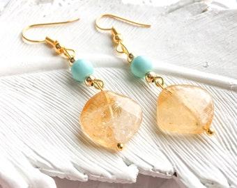 gold citrine earrings, citrine earrings, gemstone earrings, citrine dangle, november birthstone. chakra earrings, birthstone earrings, gift