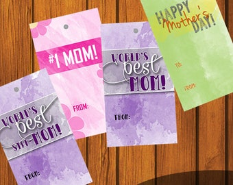 Mother's Day gift tags / Happy Mother's Day / Worlds Best Mom / Worlds Best Step Mom / #1 Mom / Gift Tag / DIY Gift Tag / Instant Download