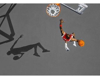Photo print from an original painting of the NBA, Chicago Bulls, Michael Jordan. Grey colored court.