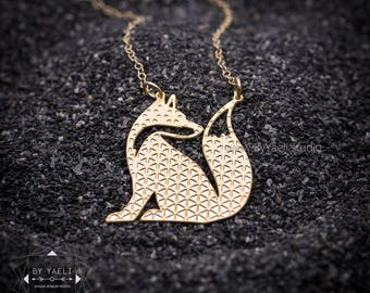 Fox necklace gold sitting fox with Geometric pattern gold geometric fox necklace geometric fox pendant minimalist necklace