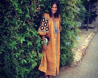 Embroidered women dress rustic urban ethnic style. Embroidered boho dress. Vyshyvanka dress. Loose fit dress. Oversize. Linen maxi dress