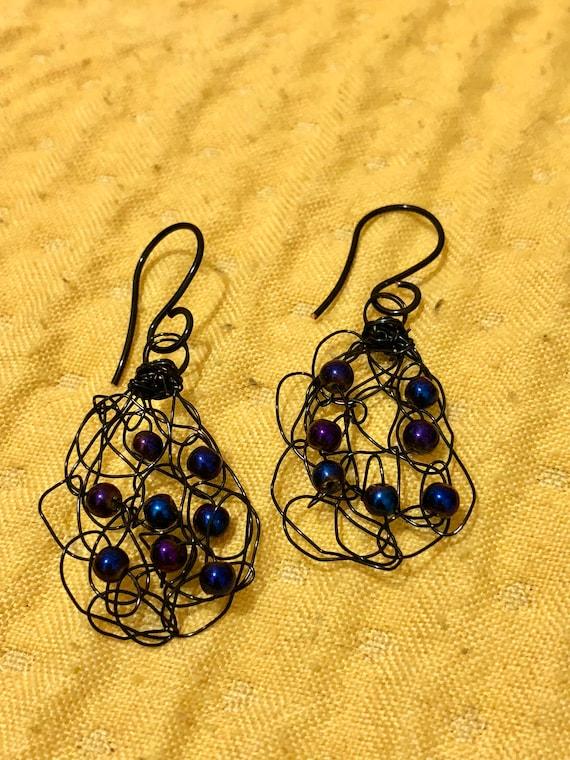 SJC10306 - Handmade black wire crochet earrings with peacock blue pearls