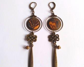 Orientalisantes earrings, Japanese fabric - designer jewelry