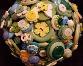 Yellow & green button bouquet