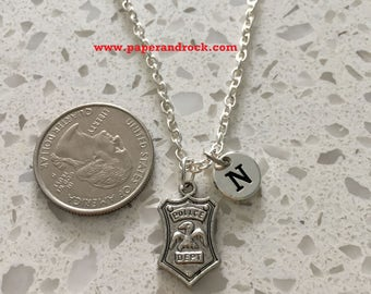 KIDS SIZE - Police badge initial necklace, police jewelry, silver police necklace, police wife necklace, police badge jewelry, silver police