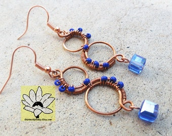 Blue and Copper Earrings Wire-wrapped Handmade Dangle Beaded Earrings By Distinctly Daisy