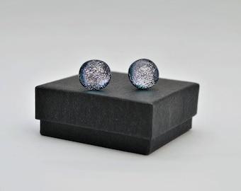 Silver on black dichroic stud earrings