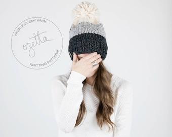 Knitting Pattern / Ombré Knit Hat With Pom Pom / THE BRECK