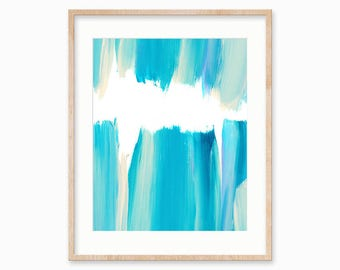 Blue and Teal Brush Strokes. Abstract Printable. Instant Download.